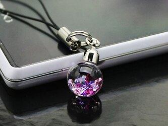 Bijou glass Ball ストラップorイヤホンジャック ~レッドパープルクリアカラー~の画像