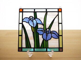 ステンドグラス ミニパネル カキツバタ 15cmの画像