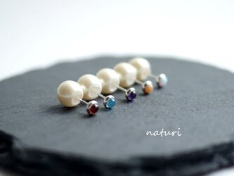 【noix】sv925 gemstone pierce with pearl catches (2pcs)の画像