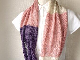 コットンとリネンの機械編みスヌード ピンク×パープルの画像