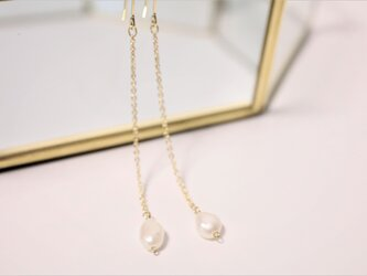 淡水パール真珠ピアス Eau Perle long earrings P0031の画像