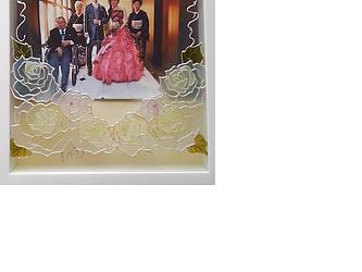 【ウェディング】【親ギフト】葡萄&薔薇 / Thank youボード 写真たてとしても!の画像
