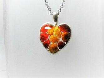 【ガラス】トップ橙2・ミルフィオリ花♡シルバー枠の画像