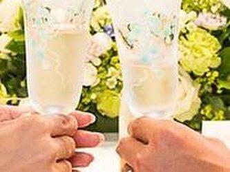 【ウェディング】【結婚祝いギフト】【2人の記念】信頼のブドウ ペアシャンパングラスの画像