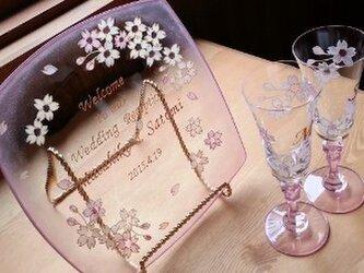 【ウェディング】桜ウェルカムプレート&ペアシャンパングラスの画像