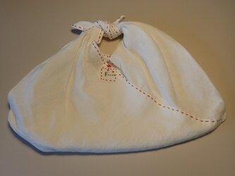 あずま袋 その8 Sサイズ 白いリネンに赤のステッチ!の画像