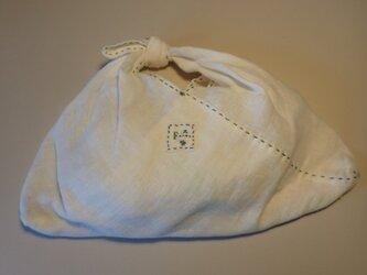 あずま袋 その9 Sサイズ 白いリネンに水色のステッチ!の画像