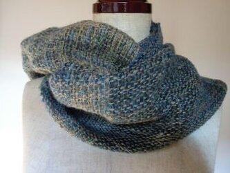 《手織り》手紡ぎ糸を使ったあったかウールマフラー②の画像