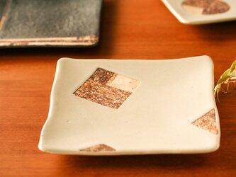 六寸角皿(シカク・白釉)の画像