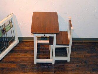 再販3★かわいいミルクティー&オークカラーのレトロな小さな勉強机と椅子セット★の画像