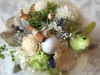 ※花器つき※春のブーケ(グリーン)の画像