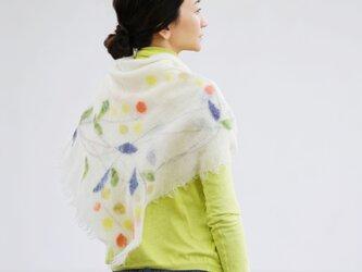 花/リース柄ストール【WREATH】ruinuno(ルイヌノ) フェルト ウール スカーフの画像