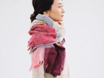 <<新聞折込>>ベージュストール【AKARI】ruinuno(ルイヌノ)秋色 フェルト ウールの画像