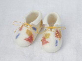 フェルト ベビー シューズ 出産祝い【おもちゃ箱WH】の画像