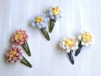 再販【ohana】花 ヘアピン ヘアパッチン スリーピン フェルト ウール ハンドメイド の画像