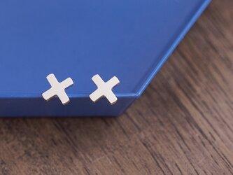 mini 正十字架 ピアス シルバー925の画像