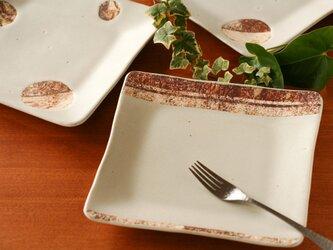 八寸角皿(ストライプ・白釉)の画像