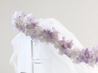 プリザーブドフラワーの紫陽花ヘアドレスの画像