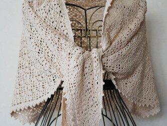 (再販)シルク混紡糸の台形ストール(ベージュ)の画像