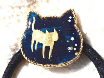 猫型ヘアゴムネイビーの画像