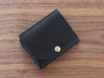 イタリア製牛革の二つ折り財布1 / ブラック※受注製作の画像