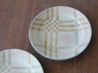 リム付5.5寸皿 釉彩格子 黄の画像