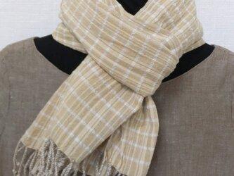 オーガニックコットン草木染手織りマフラーの画像