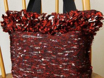 裂き織り 手提げバッグ 銘仙・赤の画像
