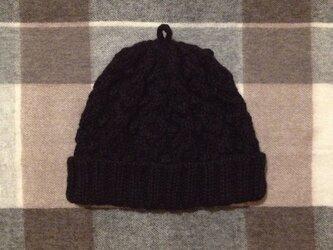 ✴︎m様専用✴︎黒いアラン模様のニット帽の画像
