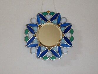 ステンドグラスミラー 万華鏡ブルーの画像