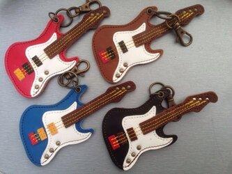 キーホルダー ギター(エレキ) 茶色の画像