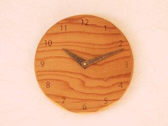 掛け時計 丸 けやき材33の画像
