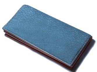ヌバック型押し牛革 ネイビー 長財布の画像