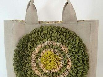 お花バッグ(うぐいす色×ベージュリネン)の画像