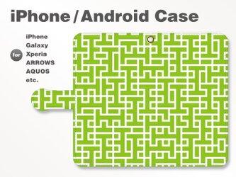 iPhone7/7Plus/Android全機種対応 スマホケース 手帳型 北欧風-ブランドロゴC グリーン(緑) 3304の画像