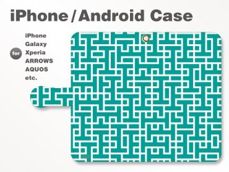 iPhone7/7Plus/Android全機種対応 スマホケース 手帳型 北欧風-ブランドロゴC 青緑 3306の画像