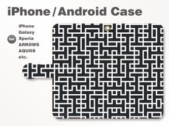 iPhone7/7Plus/Android全機種対応 スマホケース 手帳型 北欧風-ブランドロゴC モノトーン(白黒) 3308の画像