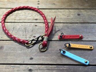 四つ編みレザーネックレスの画像