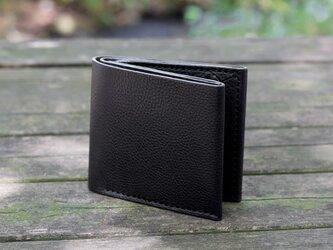 イタリア製牛革のシンプルな二つ折り財布 / ブラック※受注製作の画像