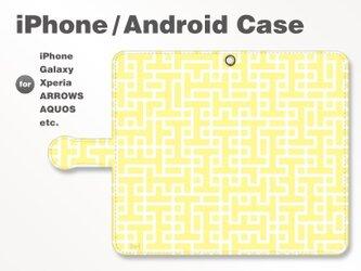 iPhone7/7Plus/Android全機種対応 スマホケース 手帳型 北欧風-ブランドロゴD イエロー-黄 3402の画像
