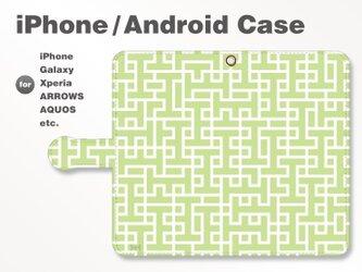 iPhone7/7Plus/Android全機種対応 スマホケース 手帳型 北欧風-ブランドロゴD グリーン-緑 3404の画像