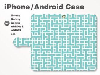 iPhone7/7Plus/Android全機種対応 スマホケース 手帳型 北欧風-ブランドロゴD 青緑 3406の画像