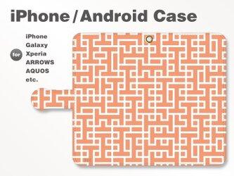 iPhone7/7Plus/Android全機種対応 スマホケース 手帳型 北欧風-ブランドロゴD レッド-赤 3407の画像
