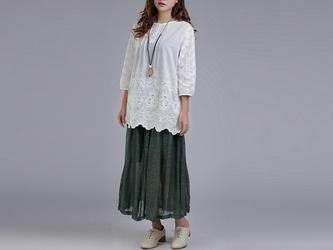 リネン シンプル風ロング丈スカート ★Green★の画像