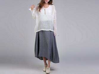 綿麻生地 左右丈違いシンプル風ロングスカートの画像