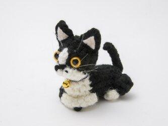 猫あみぐるみ(白黒)の画像
