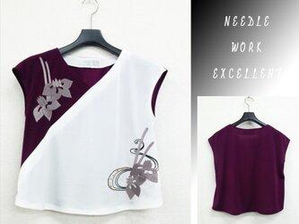 フレンチスリーブTブラウス 着物風 梅紫×生成の画像