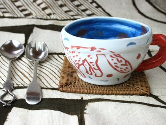 犬のマグカップ/磁器/ 可愛いい食器 / 陶芸家/キッズ食器/キッズ食器/ potteryの画像