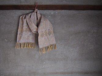 手織り/cotton-muffler 青藤色に3本透かし  (+orimi)の画像
