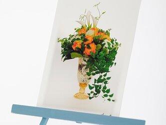 手作りイーゼルとPhoto Post Card(花)5枚セットの画像
